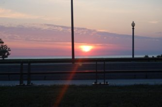 Sun Setting Over Lakeshore Drive